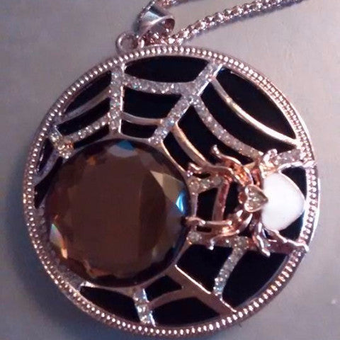 SALE: Rose Gold/Rhinestone Spider and Web Necklace
