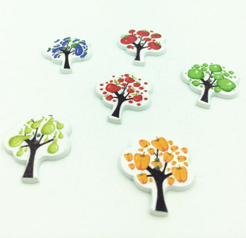 Pack 4 Wooden Fruit/veg tree button