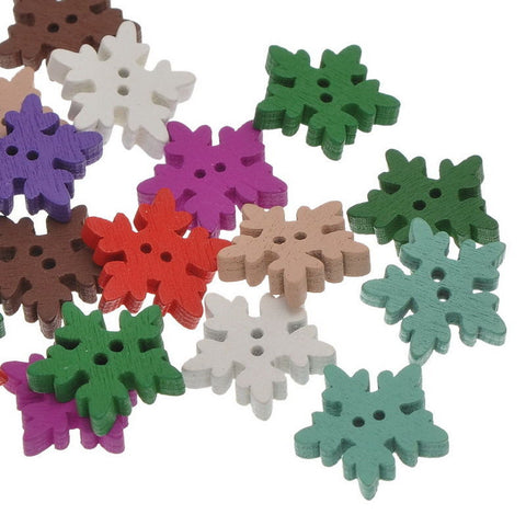 Wooden Button Assorted Colour Snowflake