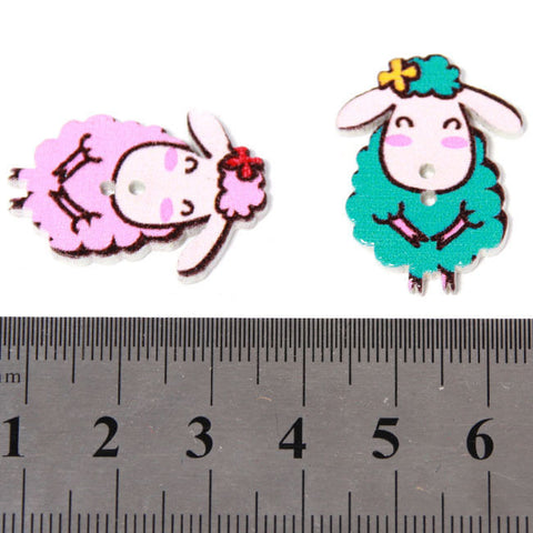 Pack of 4 Wooden Sheep Button