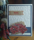 15 Piece Festive Elegance Poinsettia Stencil/Embossing Folder and Stamp Set