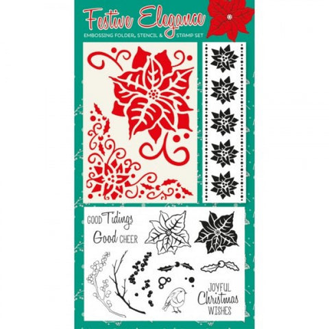SALE: 15 Piece Festive Elegance Poinsettia Stencil/Embossing Folder and Stamp Set