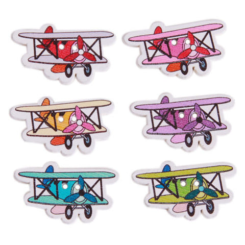 Pack of 4 Wooden Aeroplane Button