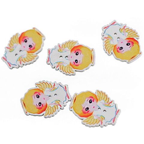 Pack of 4 Wooden Angel Button