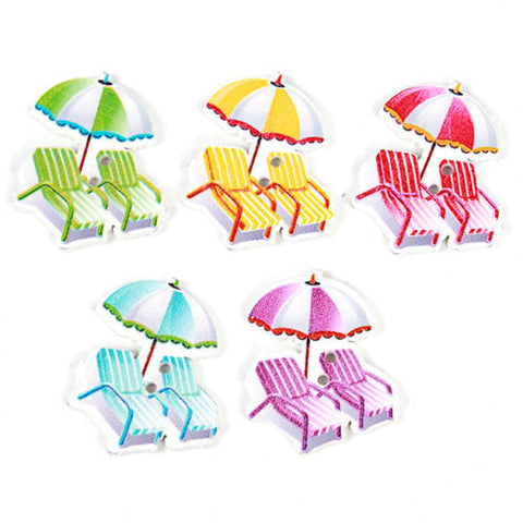 Pack of 4 Summer Beach Chair with Umbrella Wooden Button