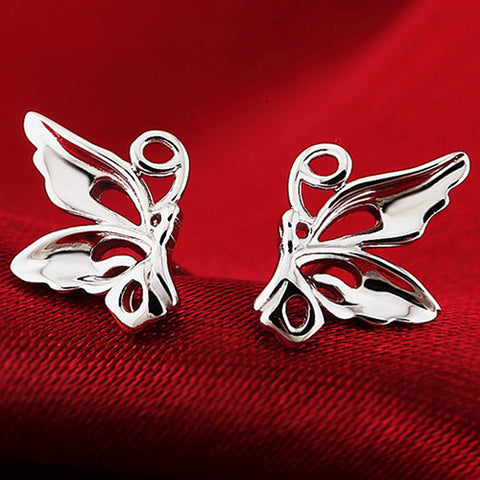 925 Pair of Silver plated Butterfly Stud Earrings
