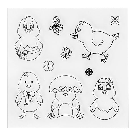 ((((A NEW ITEM)))) 10 Piece Easter Chick Stamp Set