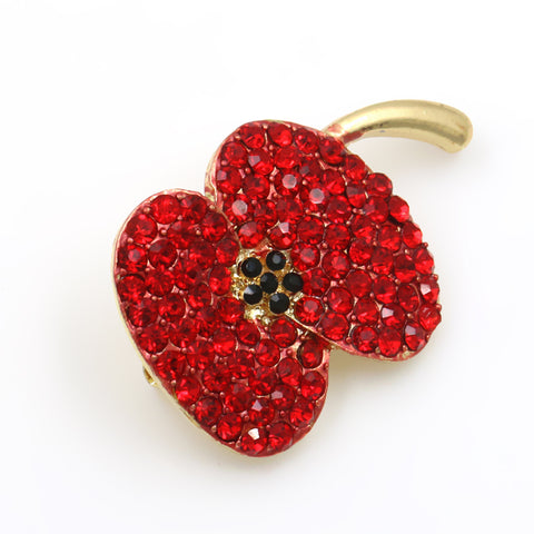 Gold/Rhinestone Poppy Pin/Brooch FREE UK P&P