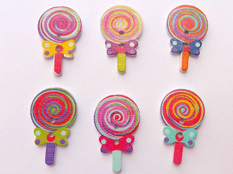 Pack of 4 Wooden Lolly Pop Button