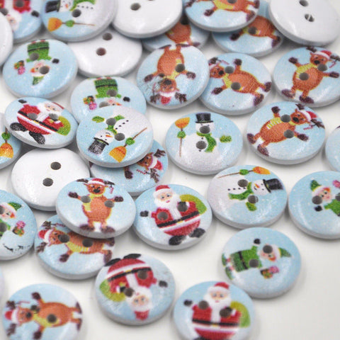 Wooden Button Assorted Christmas Design Round