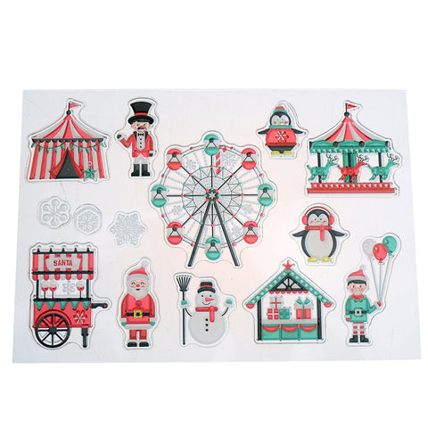 ((((A NEW ITEM)))) 14 Piece Santa At The Fair Stamp Set