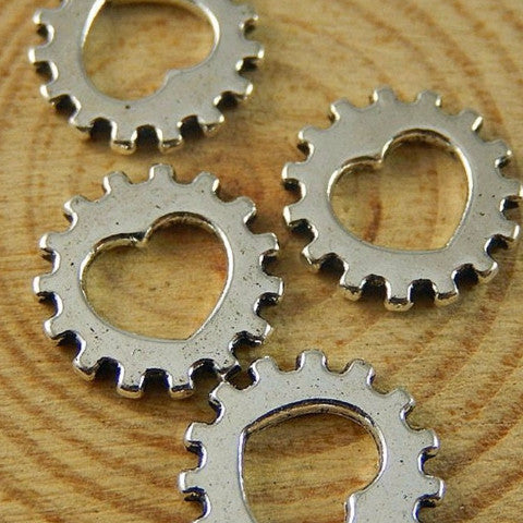Mini Silver Cog/Gear with Inner Heart
