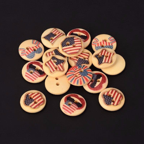 ((((4th OF JULY CRAFT)))) Wooden Vintage USA flag Button