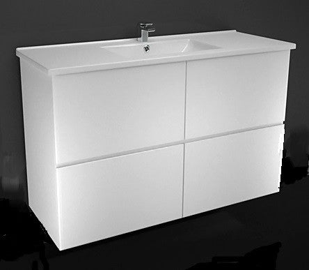 1200 ALL DRAWER WALL HUNG Vanity, Single Ceramic Top
