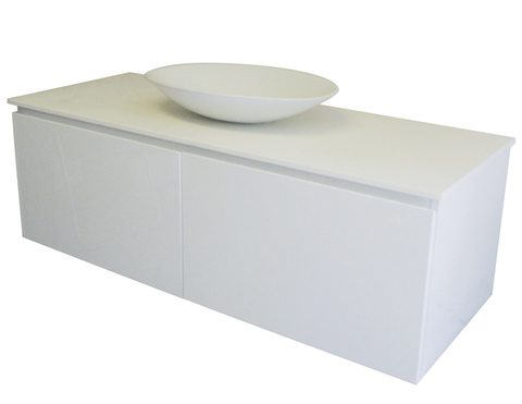 1200 TWIN DRAWER WALL HUNG Vanity, Solid Surface Top, Counter Basin