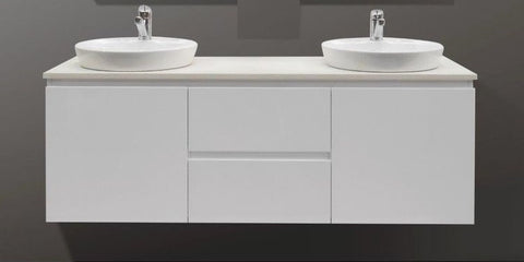 Double Vanity.1500 Wall Hung Double Vanity Counter Basins Marble Fleck Stone Top