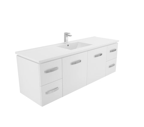 1500 Wall hung Vanity, Single Bowl White Cast Marble Top