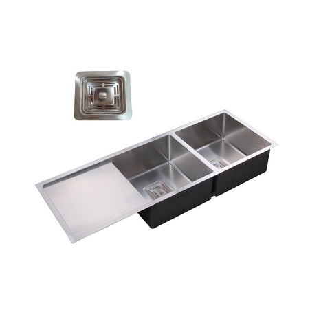 Double Bowl & Drainer 1160 Under/Over/Flush Mount Stainless Steel Sink