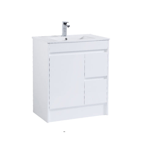 750 PVC Waterproof Vanity, White Gloss, Slimline Ceramic top