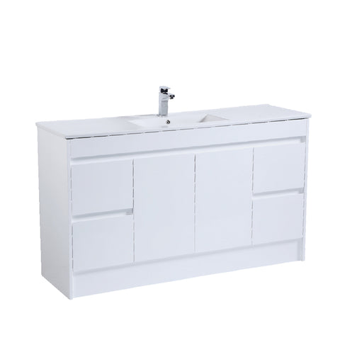 1500 PVC Waterproof Vanity, White Gloss, Slimline Single Ceramic top
