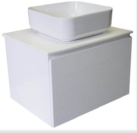 600 SINGLE DRAWER WALL HUNG Vanity, Solid Surface Top, Counter Basin