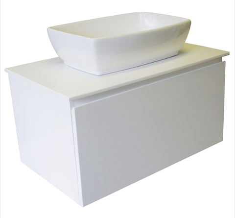 750 SINGLE DRAWER WALL HUNG Vanity, Solid Surface Top, Counter Basin