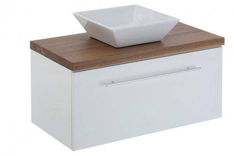 750 SINGLE DRAWER Vanity, Wall Hung, Timber Top, Counter Basin