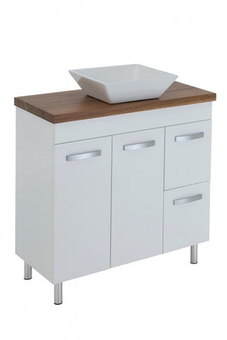 900 Vanity, Kickboard or Legs, Timber Top, Counter Basin