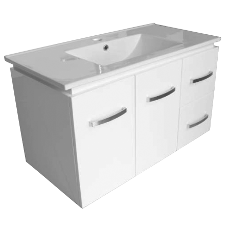 900 Wall hung Chia Vanity, Slimline Ceramic Top