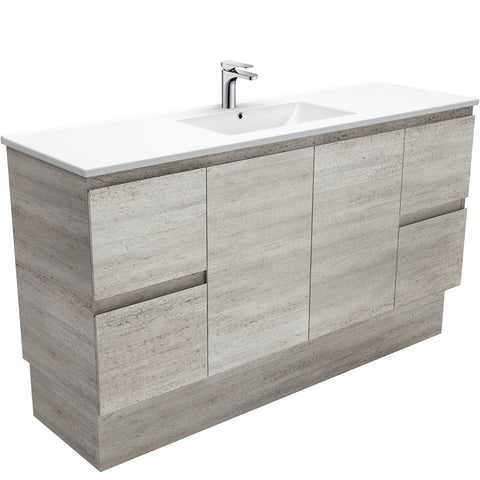 1500 Concrete Vanity, Kickboard, Slimline Ceramic Top Single