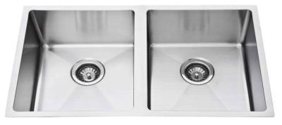 Double Bowl Square Undermount 760mm Stainless Steel