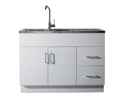 Kitchenette Gloss 1200 x 510mm, Double Sink Top 1TH & Drainer