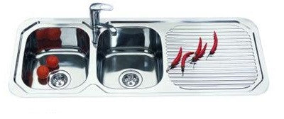 Double Bowl 1180mm Stainless Steel Sink & Drainer