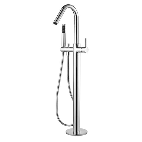 Chasa Floor Mounted Combo Bath Mixer, Spout, Hand-shower CHROME