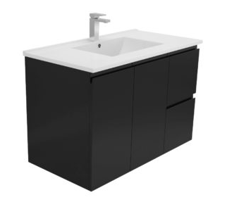 900 BLACK Dana Wall Hung Vanity, Slimline  Ceramic Top