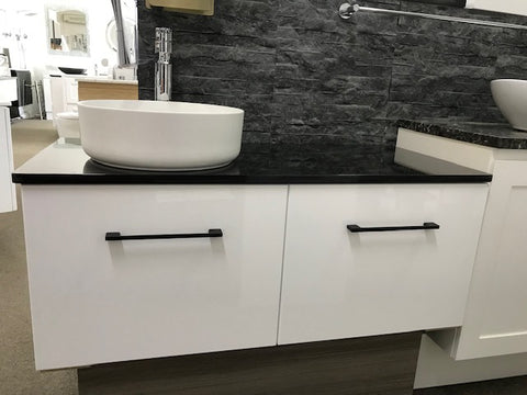 1050 WALL HUNG  Vanity, Black Granite Top, Counter Basin, FREE Hi-Rise Mixer & Pop-up Waste