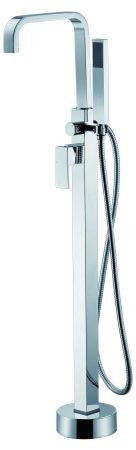 Quadra Floor Mounted Combo Bath Mixer, Swannk Spout, Hand-shower