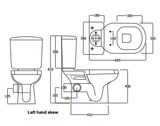CLOSE COUPLED RAK LIWA SKEWED Toilet, Soft Close (LEFT SKEW TRAP)