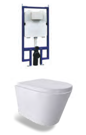 Wall Hung RENEE Rimless In-Wall Cistern Toilet, Soft close seat