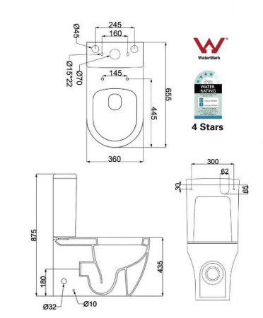 Back to wall rossi toilet suite s p trap soft close for Bathroom p trap height