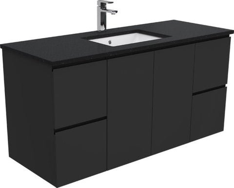 1200 BLACK Dana Wall Hung Vanity Black Stone Undermount Top