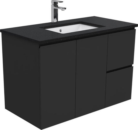 900 BLACK Dana Wall Hung Vanity, Black Stone Undermount Top