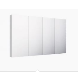 1500mm PVC PENCIL EDGE, GLASS SHELVES Mirror Shaving Cabinet, Soft Close,