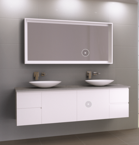 1800 Wall hung Vanity, Double Bowl Stone Top, Counter Basins