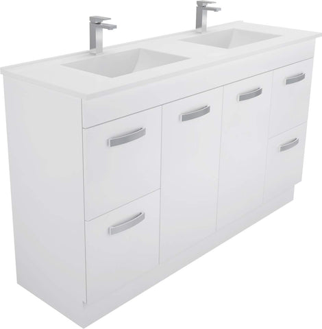 1500 Kickboard Vanity, Double Bowl White Cast Marble Slim Top