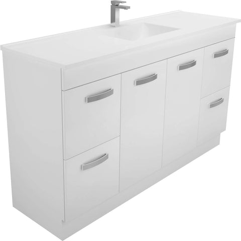 1500 kickboard Vanity, Single Bowl White Cast Marble Slim Top