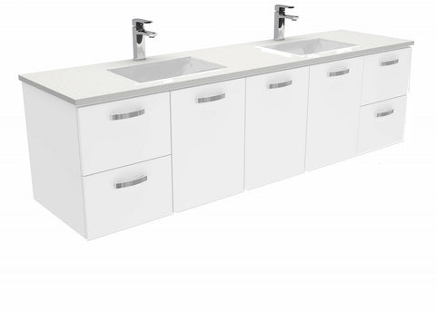 1800 Wall hung Vanity, Double Bowl White Cast Marble Slim Top