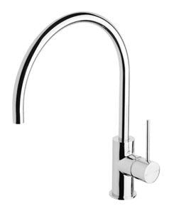 VIVID Slim Line Side Lever Sink Mixer 220mm Gooseneck Chrome
