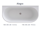 ALEGRA 1700 Back-to-Wall Freestanding Bath -WHITE