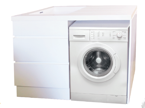 Laundry Unit 1200W x 600D mm, White Gloss Cabinet, Bench & Tub